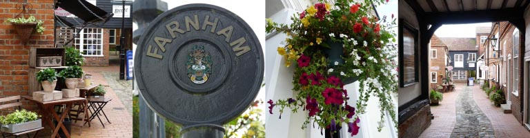 Views of Farnham's picturesque side streets and mews
