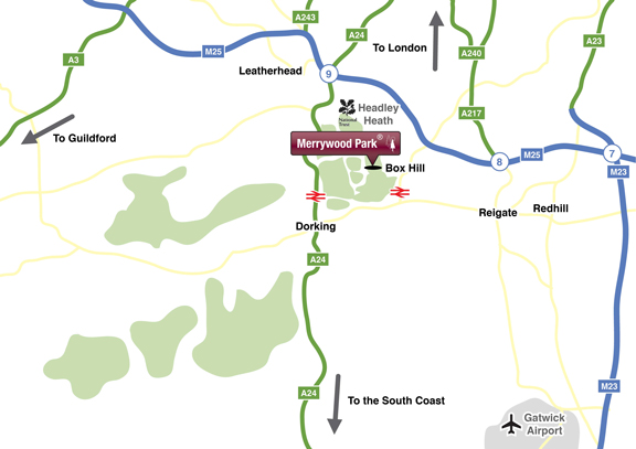 Location Map Merrywood Park, Box Hill, Surrey