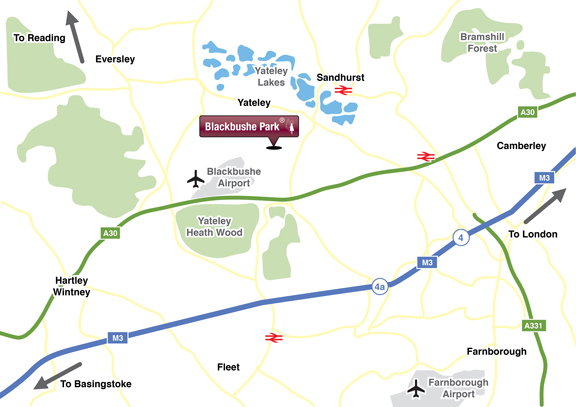 Location Map Blackbushe Park, Yateley, Hampshire