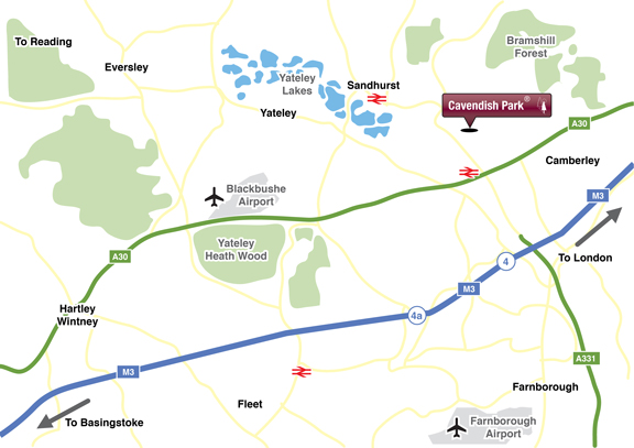 Location Map Cavendish Park, Sandhurst, Berkshire